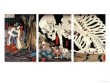 Mitsukini Defying the Skeleton Spectre, circa 1845 Gicledruk van Kuniyoshi