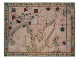 The Far East, from a Portolan Atlas, by Fernao Vaz Dourado, 1570 Giclee Print