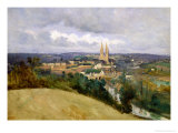 General View of the Town of Saint-Lo, circa 1833 Giclee Print by Jean-Baptiste-Camille Corot