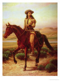 "William Frederick Cody, Called ""Buffalo Bill"" (1846-1917) on His Horse Charlie Giclee Print by William de la Montagne Cary"