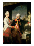 Kaiser Joseph II (1741-90), and the Grand Duke Leopold of Tuscany, 1769 Giclée-tryk af Pompeo Batoni