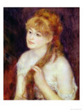 Young Woman Braiding Her Hair, 1876 Premium Giclee Print by Pierre-Auguste Renoir