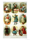 Christmas Cards Depicting Various Children's Activities, Pub. by Leighton Bros., 1882 Giclee Print by Charles J. Staniland