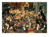 The Battle Between Carnival and Lent Lámina giclée por Pieter Brueghel the Younger