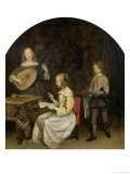 The Concert: Singer and Theorbo Player Lámina giclée por Gerard Terborch