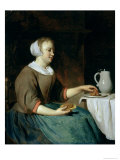 Portrait of a Girl Seated at a Table Giclee Print by Gabriel Metsu