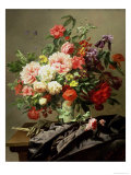 Peonies, Poppies and Roses, 1849 Giclee Print by Henri Robbe