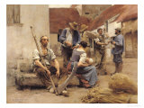 Paying the Harvesters, 1882 Premium Giclee Print by Léon Augustin L'hermitte