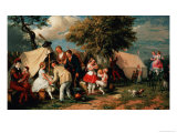 The Acrobats' Camp, Epsom Downs Giclee Print by William Parrott