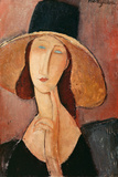 Portrait of a Woman (Jeanne Hébuterne) in Large Hat, c.1918 Premium Giclee Print by Amedeo Modigliani