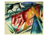Animals, 1913 (W/C on Paper) Giclee Print by Franz Marc