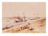 A Turkish Paddle Steamer Going up the Suez Canal Giclee Print by Édouard Riou