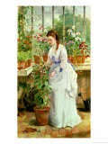 Young Lady in a Conservatory Giclee Print by Jane Maria Bowkett