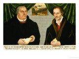 Double Portrait of Martin Luther (1483-1546) and Philip Melanchthon (1497-1560) Gicle-tryk af Lucas Cranach the Younger