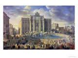 The Trevi Fountain in Rome, 1753-56 Giclee Print by Giovanni Paolo Pannini