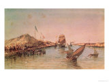 Shipping on Suez Canal, Fr.A Souvenir Album Commemorating the Voyage of Empress Eugenie (1826-1920) Giclee Print by Édouard Riou
