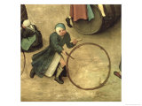 Children's Games (Kinderspiele): Detail of a Child with a Stick and Hoop, 1560 Giclee Print by Pieter Bruegel the Elder