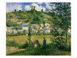 Paysage à Chaponval, 1880 Reproduction giclée Premium par Camille Pissarro