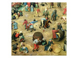 Children's Games (Kinderspiele): Detail of Bottom Section Showing Various Games, 1560 Giclee Print by Pieter Bruegel the Elder