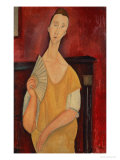 Woman with a Fan (Lunia Czechowska) 1919 Premium Giclee Print by Amedeo Modigliani