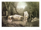 Broken Mayan Idol at Copan, Guatemala Giclee Print by Frederick Catherwood