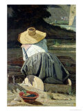 Washerwoman by the River, 1860 Premium Giclee Print by Paul Camille Guigou