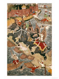 Akbar Tames the Savage Elephant, Hawa'I, Outside the Red Fort at Agra Giclee Print by  Basawan