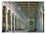 Interior of the Church of San Paolo Fuori Le Mura, Rome, 1750 Premium Giclee Print by Giovanni Paolo Pannini
