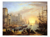 Sea Port at Sunset, 1639 Gicle-tryk af Claude Lorrain