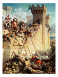 Guillaume De Clermont Defending Ptolemais (Acre) in 1291, 1845 Reproduction proc&#233;d&#233; gicl&#233;e par Dominique Louis Papety