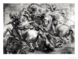 The Battle of Anghiari after Leonardo Da Vinci (1452-1519) Giclée-tryk af Peter Paul Rubens
