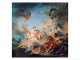 The Forge of Vulcan, or Vulcan Presenting Arms for Aeneas to Venus, Tapestry Cartoon, 1757 Giclee Print by Francois Boucher