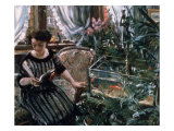 A Woman Reading Near a Goldfish Tank Gicléetryck av Lovis Corinth
