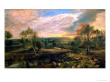A Landscape with a Shepherd and His Flock, circa 1638 Giclee Print by Peter Paul Rubens