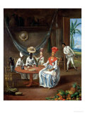 A Mulatto Woman with Her White Daughter Visited by Negro Women in Their House in Martinique, 1775 Giclee Print by  Le Masurier
