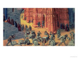 The Building of the Temple of Jerusalem, Detail Showing Masons at Work Giclee Print by Jean Fouquet