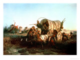 The Attack on the Emigrant Train, 1856 Giclee Print by Charles Ferdinand Wimar
