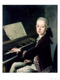 Portrait of Carl Graf Firmian at the Piano, Formerly Thought to be Mozart (1756-91) Premium Giclee Print by Franz Thaddaus Helbling