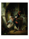 Two Boys Dressing up as Soldiers Giclee Print by Claude Jacquand