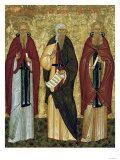 St. John Climacus (The Ladder) St. John of Damascus and St. Arsenias, Russian Icon Giclee Print