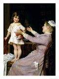 Little Girl with a Doll and Her Nurse, 1896 Giclee Print by Christian Pram Henningsen
