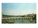 Westminster Bridge from the North with Lambeth Palace in Distance Giclee Print by  Canaletto