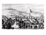 View from Avebury Steeple of Silbury Hill, Illustration from Stonehenge: a Temple Restored Giclee Print by William Stukeley
