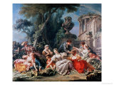 Bird Catchers Reproduction proc&#233;d&#233; gicl&#233;e par Francois Boucher