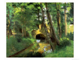 The Little Bridge, Pontoise, 1875 Stampa giclée di Camille Pissarro