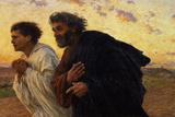 De discipelen Petrus en Johannes haasten zich naar het graf op de morgen van de opstanding, ca. 1898 Gicléedruk van Eugene Burnand