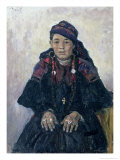 Portrait of a Cossack Woman, 1909 Giclee Print by Vasilii Ivanovich Surikov