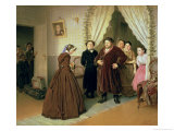 The Governess Arriving at the Merchant's House, 1866 Giclee Print by Vasili Grigorevich Perov