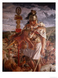 Roman Centurion During the Building of Hadrian's Wall Detail of Mural of the History of Northumbria Premium Giclee Print by William Bell Scott