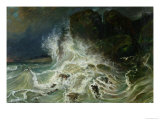 Breakers off Granville Point in the Channel, 1853 Giclee Print by Paul Huet